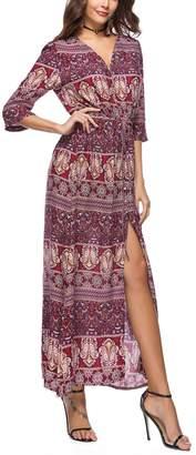 Miatty Women's Button Up Split Floral Print Flowy Beach Party Boho Long Maxi Dress L