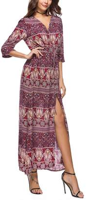 Miatty Women's Floral Button Up Cocktail Prom Party Garden Picnic Split Long Maxi Boho Dress L