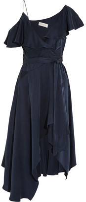 Zimmermann - One-shoulder Ruffled Silk Wrap Midi Dress - Navy $630 thestylecure.com