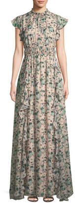 Shoshanna Triana Floral Gown w/ Ruffles