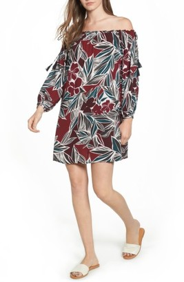 Women's Lush Print Off The Shoulder Dress $49 thestylecure.com