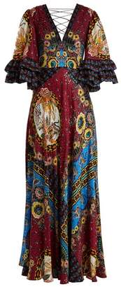 Etro Jungle Print V Neck Silk Satin Gown - Womens - Pink Multi