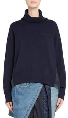 Sacai Plisse-Back Wool Turtleneck Sweater