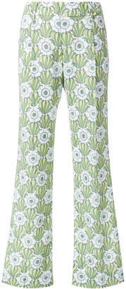 Prada floral print flared trousers