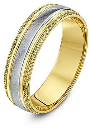Theia Thiea Two Colours, 9 ct Yellow and White Gold, Matt Center and Millgrain Edges 5 mm Wedding Ring - Size K