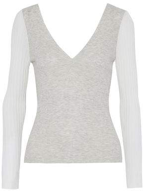 Alexander Wang Ruched Paneled Knitted Top