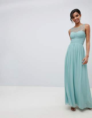 Little Mistress embellished top maxi dress in sage
