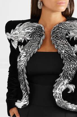 Balmain Cropped Appliquéd Embellished Velvet Jacket - Black