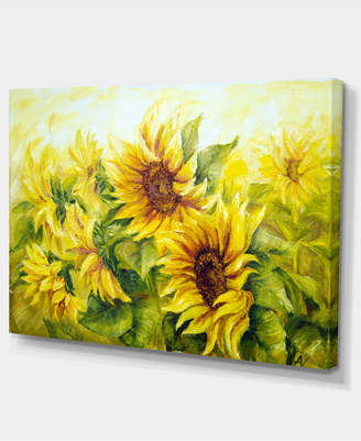 """Designart Bright Yellow Sunny Sunflowers Large Floral Painting Canvas - 32"""" X 16"""""""
