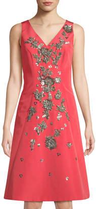 Carolina Herrera Sleeveless Floral-Embellished A-Line Dress, Coral