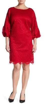 Eliza J Pleated Puff Sleeve Lace Shift Dress (Plus Size)