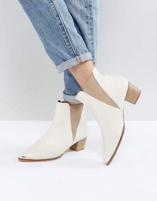 Office Azalea White Leather Ankle Boots
