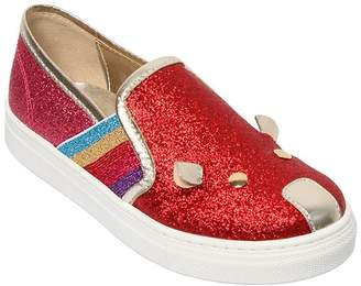 Little Marc Jacobs Glittered Leather Slip-On Sneakers