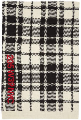 Calvin Klein Off-White and Black Embroidered Blanket Scarf