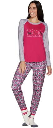 Cuddl Duds Cozy Jersey Pajama Set with Socks