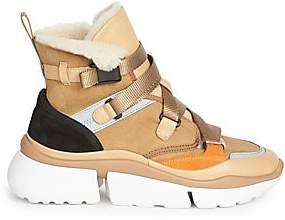 Chloé Women's Sonnie Lambskin Fur-Lined High-Top Sneakers