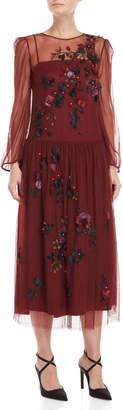 Blugirl Burgundy Floral Applique Dress