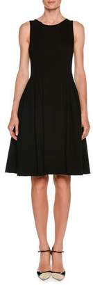 Giorgio Armani Round-Neck Sleeveless Jersey Pleated Fit-and-Flare Dress