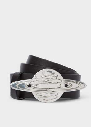 Paul Smith Men's Black Leather Belt With 'Explorer Saturn' Buckle