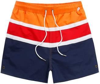 Trunks LETSQK Men's Swim Stripe Quick Dry Beach Board Shorts with Mesh Lining L