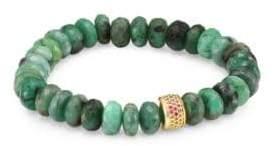 Sydney Evan Sapphire, Emerald and 14K Gold Rondelle Natural Beaded Bracelet