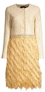 St. John Threaded Pique Knit Fringe A-Line Jacket