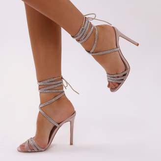 8c760bda8f3 Public Desire Fancy Diamante Lace Up Heels Satin