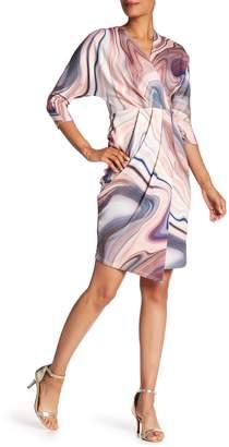 London Dress Company 3/4 Dolman Printed Wrap Dress
