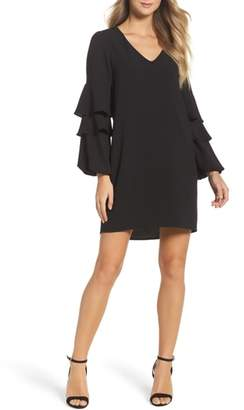 Charles Henry Tiered Ruffle Sleeve Dress
