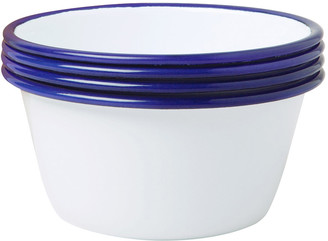 Falcon Set of 4 Bowls - White with Blue Rim