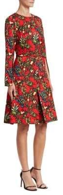 Oscar de la Renta Pomegranate Jacquard A-Line Dress