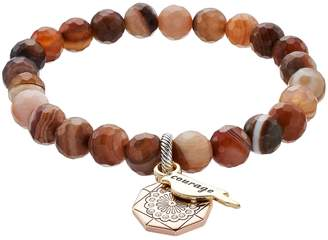 """Love This Life love this life Botswana Agate Bead """"Courage"""" Charm Stretch Bracelet"""