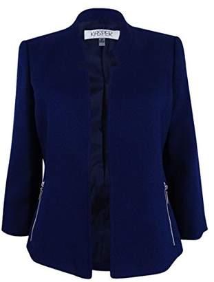 Kasper Women's Petite Size Mandarin Collar Textured Flyaway Jacket