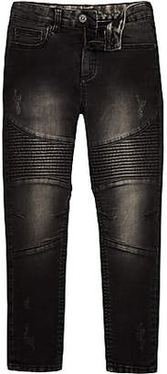 River Island Boys black washed sid skinny biker jeans