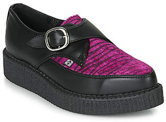 T.U.K. POINTED CREEPER PURPLE ZEBRA women's Casual Shoes in Black