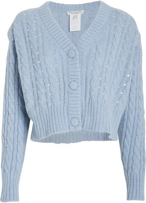 Philosophy di Lorenzo Serafini Crystal-Embellished Cable Knit Cardigan