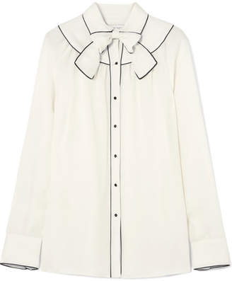 Valentino Pussy-bow Piped Silk Blouse - Cream