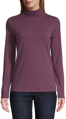 ST. JOHN'S BAY Womens Turtleneck Long Sleeve T-Shirt