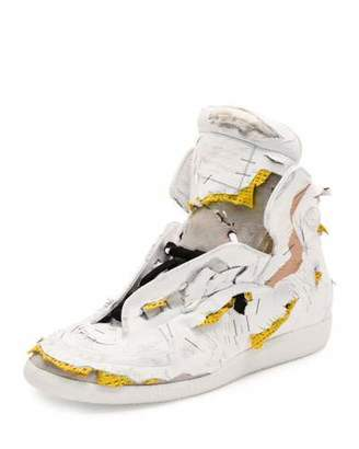 Maison Margiela Future Destroyed High-Top Sneaker, White/Yellow $1,425 thestylecure.com