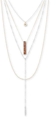"Lucky Brand Two-Tone Druzy Stone Layered Necklace, 17-1/2"" + 2"" extender"