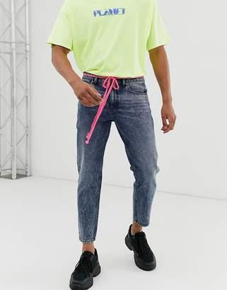 Asos Design DESIGN classic rigid jeans in acid wash blue with shoelace belt
