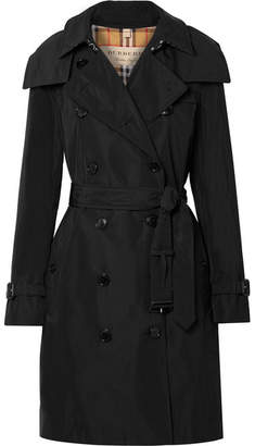 Burberry The Kensington Leather-trimmed Shell Trench Coat - Black