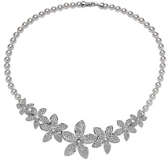 Women's Nina Crystal & Faux Pearl Frontal Necklace $245 thestylecure.com