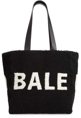 Balenciaga Logo Genuine Shearling Tote