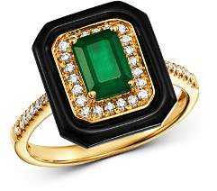 Bloomingdale's Emerald, Black Onyx & Diamond Square Cocktail Ring in 14K Yellow Gold - 100% Exclusive