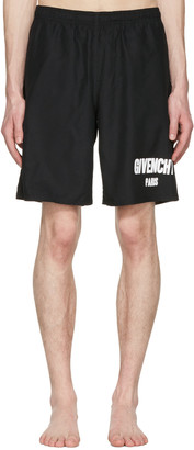 Givenchy Black Logo Swim Shorts $685 thestylecure.com
