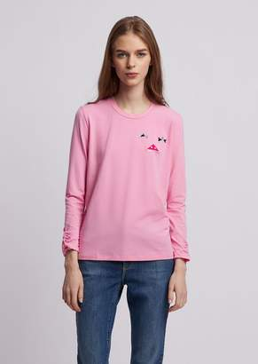 Emporio Armani Long-Sleeved T-Shirt In Stretch Modal Cotton Jersey