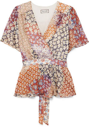 Paul & Joe Wrap-effect Floral-print Silk-chiffon Top - Plum