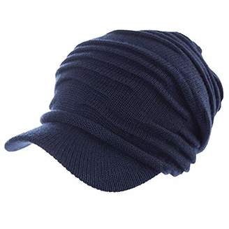 Jeff & Aimy 37% Wool Knit Visor Beanie Mens Winter Hat Brim Cuff Newsboy Jeep Cap Cold Weather Hat 2-Layer Navy