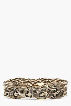 boohoo Straw + Faux Snake Waist Belt